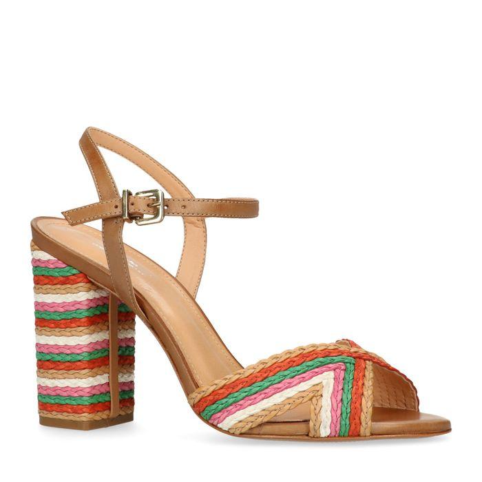 Sandales cuir à talon tressées - multicolore
