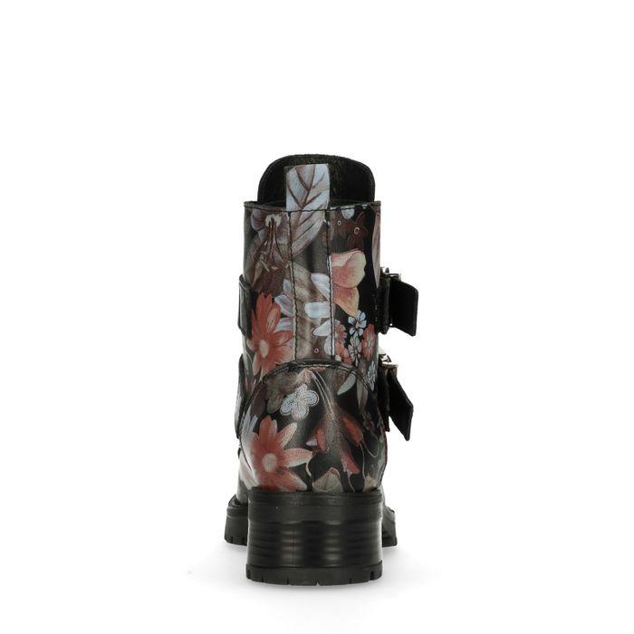 Bottines motardes avec boucles et imprimé fleuri