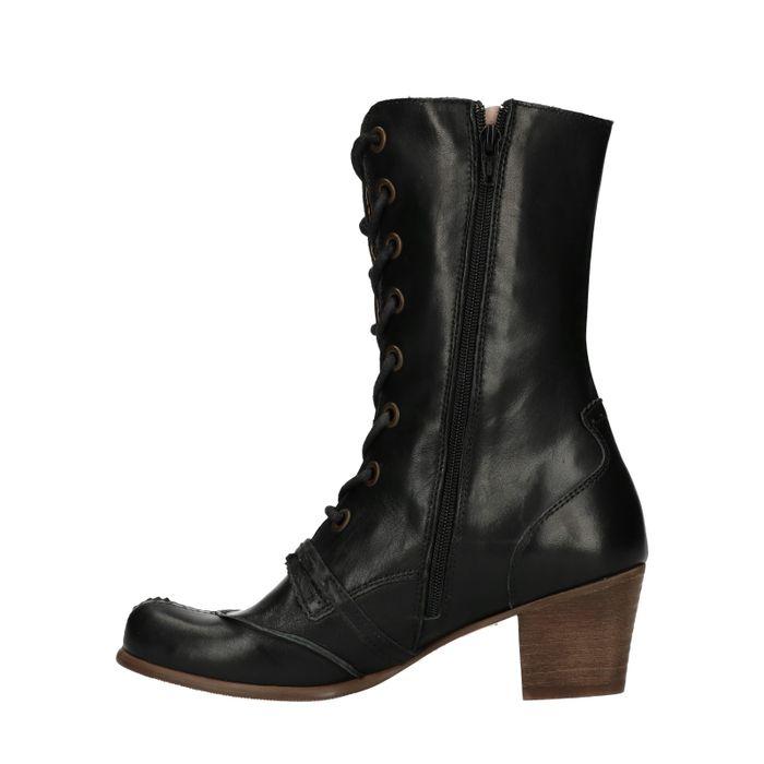Bottes à lacets en cuir courtes - noir