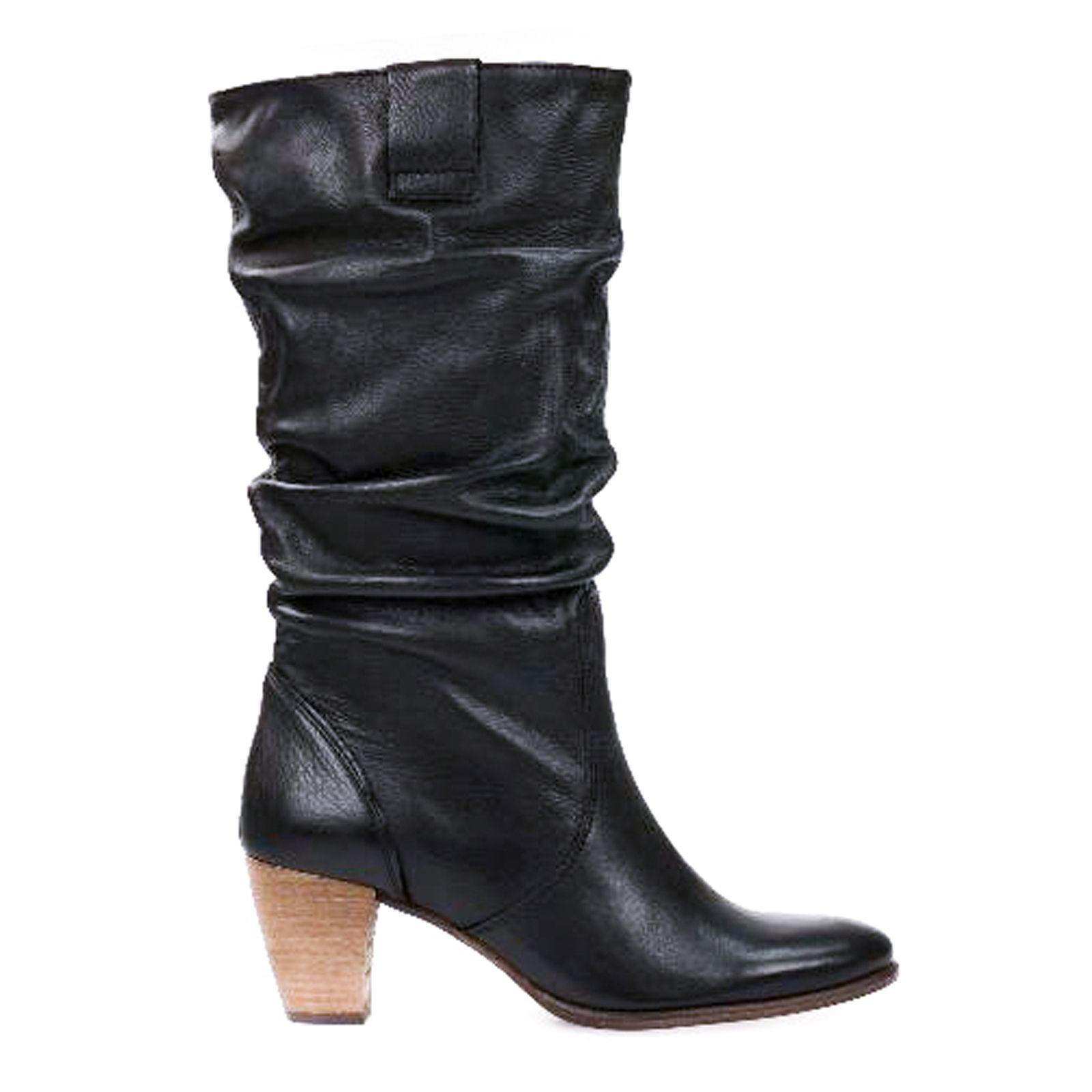 Sacha Bottes cuir plissées , noir
