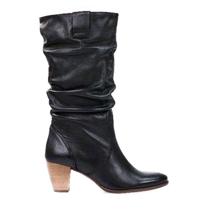 Bottes cuir plissées - noir