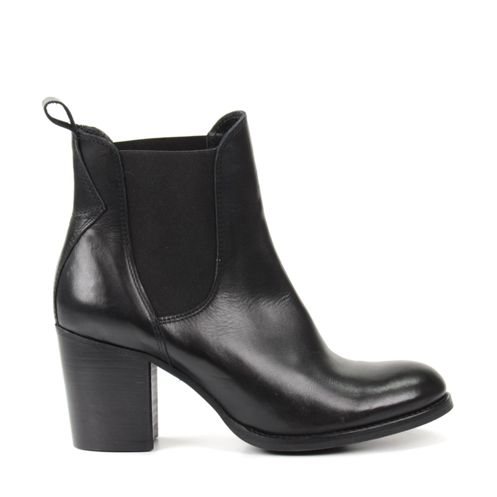 Sacha Chelsea boots en cuir avec talon cubain noir