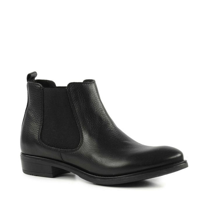 Chelsea boots basses en cuir - noir