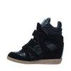 Chaussures à semelles compensées avec velcro - noir