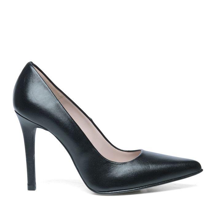 Escarpins cuir pointus - noir