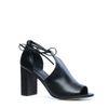 Sandales cuir ajourées à talon - noir