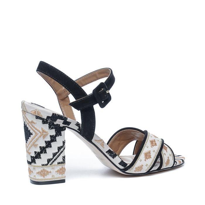 Sandales à talon avec imprimé - noir