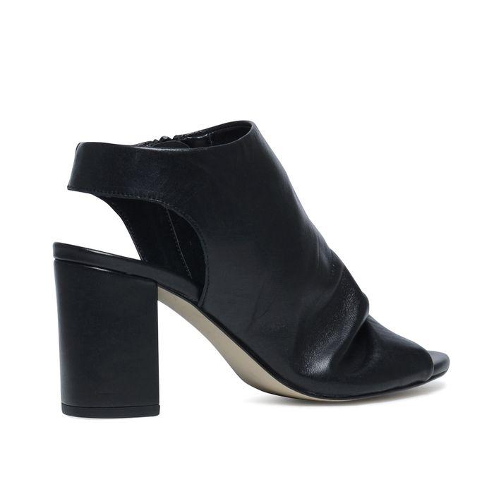Sandales cuir à talon avec bout ouvert - noir