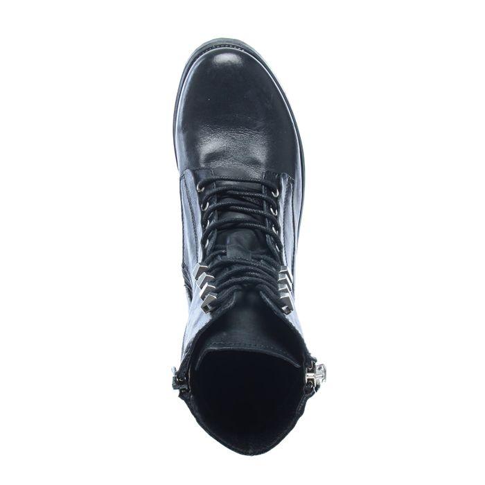 Bottines cuir avec lacets - noir