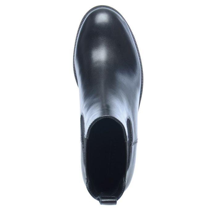 Chelsea boots en cuir avec semelle plateforme - noir