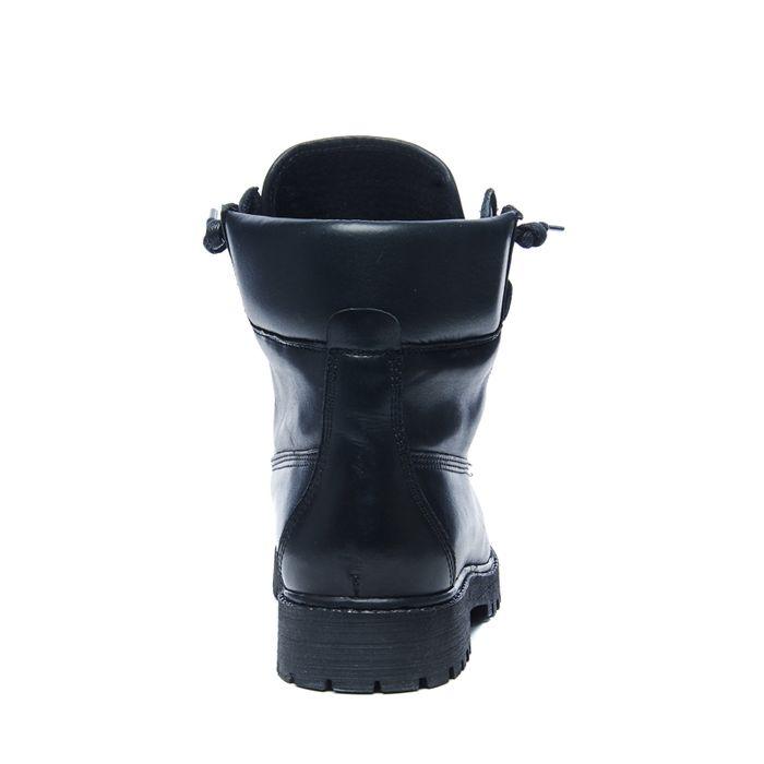 Bottines motardes en cuir avec fermeture éclair - noir