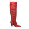 Bottes hautes en cuir avec talon - rouge