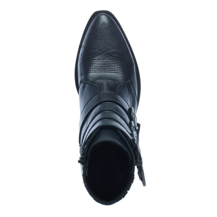 Bottines cuir à boucles style western - noir