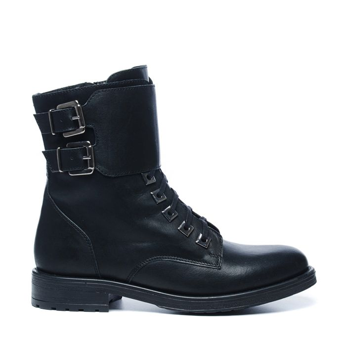 Bottines motardes en cuir avec sangle - noir