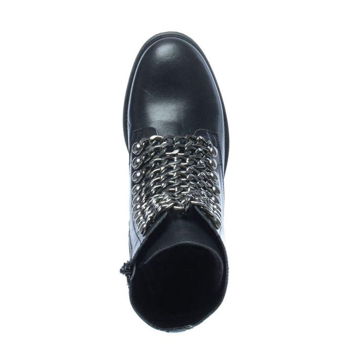 Bottines motardes en cuir avec chaînes - noir