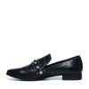 Loafers cuir avec imprimé serpent et détails - noir
