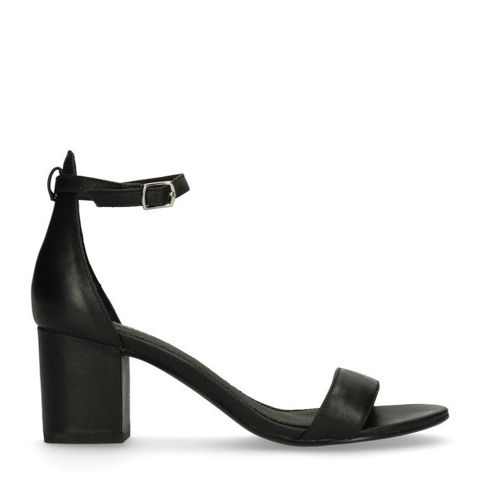 Sandales en cuir à talon - noir