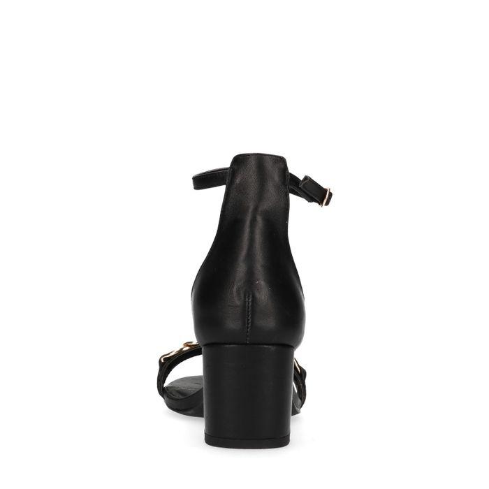 Sandales cuir à talon avec détail - noir