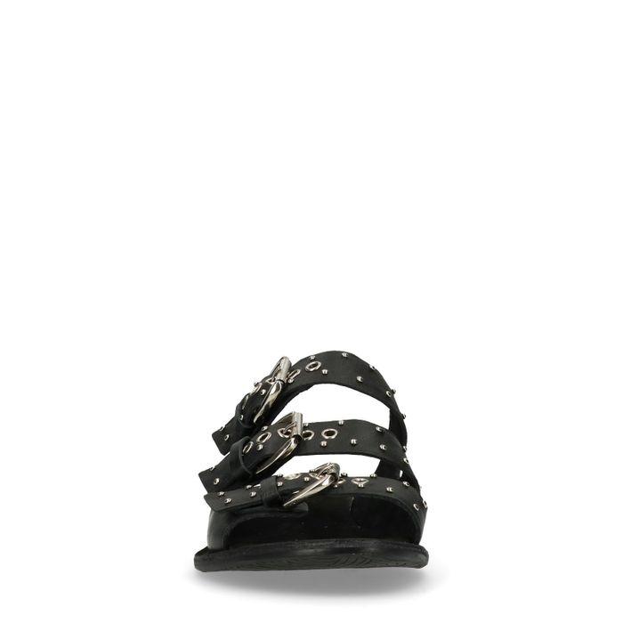 Claquettes en cuir avec 3 boucles - noir