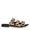 Claquettes en cuir avec 3 boucles et imprimé léopard