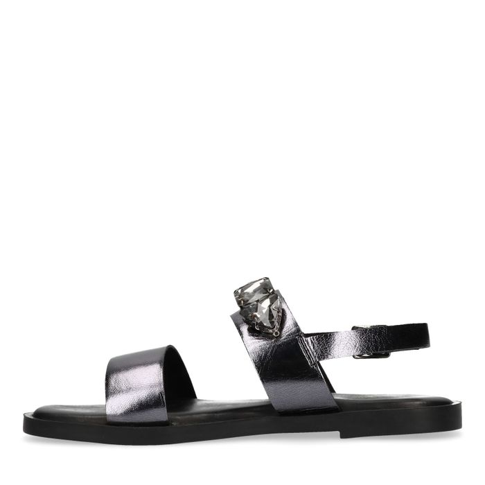 Sandales en cuir métallisées avec pierres - noir