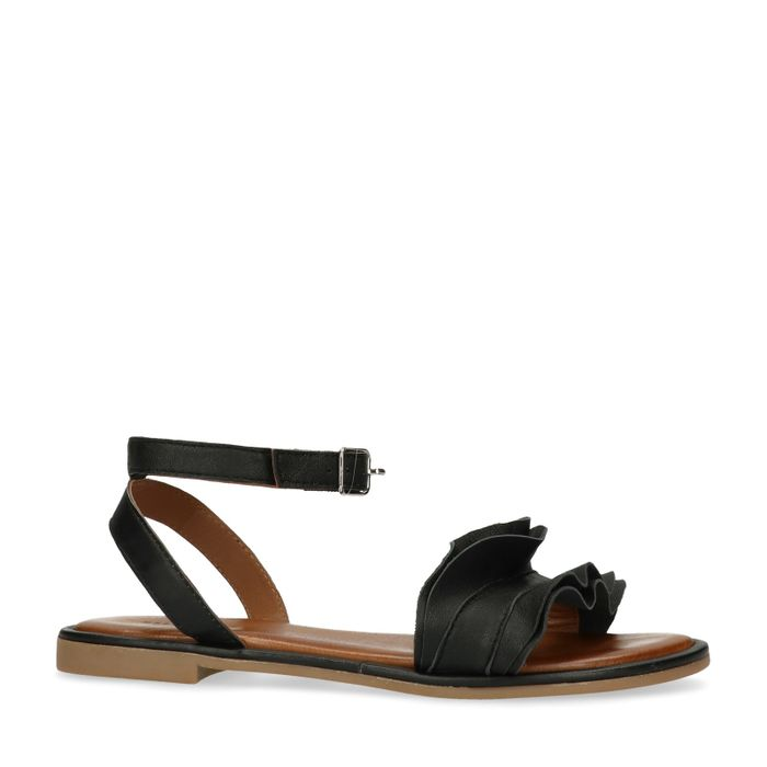 Sandales cuir avec froufrous - noir