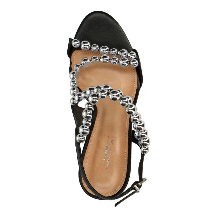 Escarpins en cuir avec perles - noir