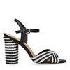 Sandales à talon tressées - noir/blanc