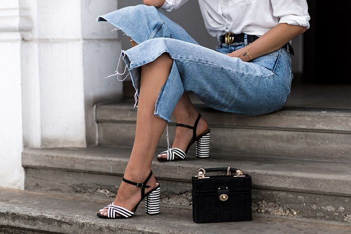 Sandales cuir à talon tressées - noir