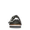 Claquettes cuir à plateforme avec clous - noir