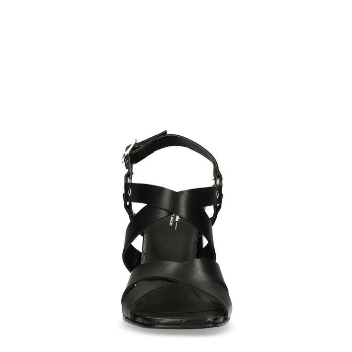 Sandales à talon en cuir - noir