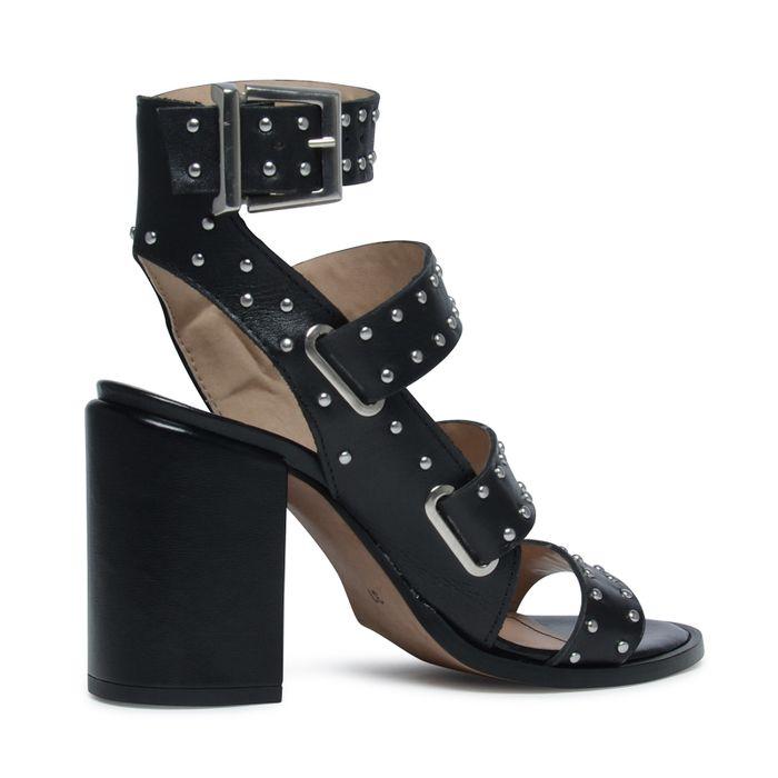 Sandales cuir à talon avec clous - noir