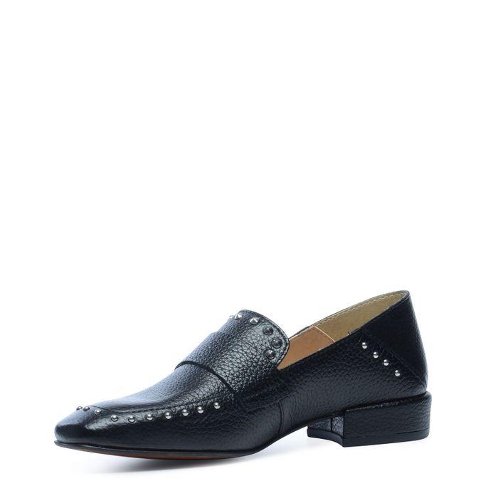 Loafers en cuir avec clous - noir