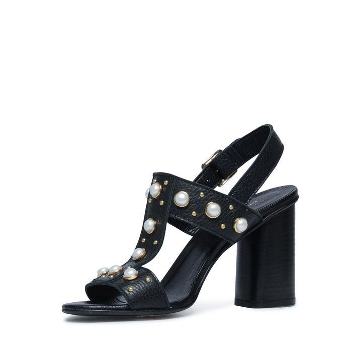 Sandales en cuir avec talon cubain - noir