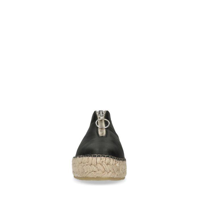 Baskets en cuir à plateforme avec semelle corde et fermeture éclair - noir