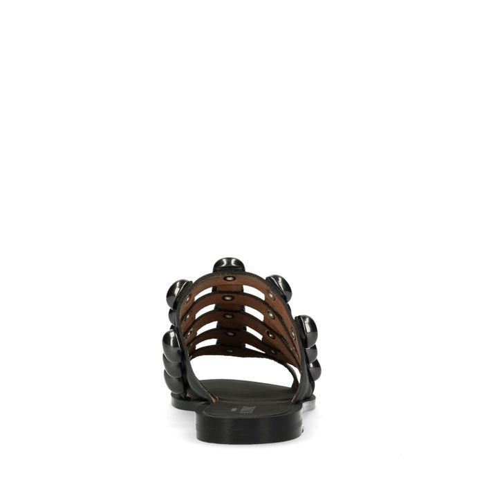 Claquettes en cuir avec clous ronds - noir