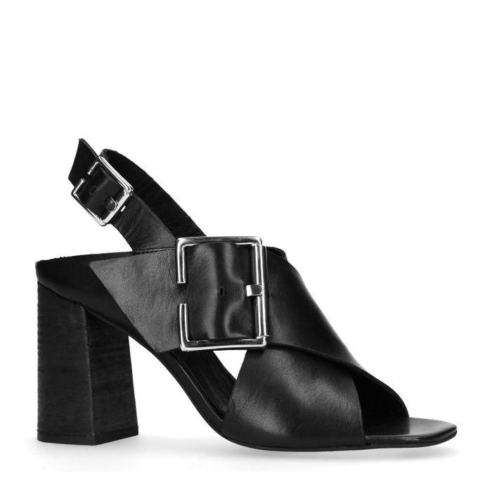 Sandales cuir à talon avec boucle - noir