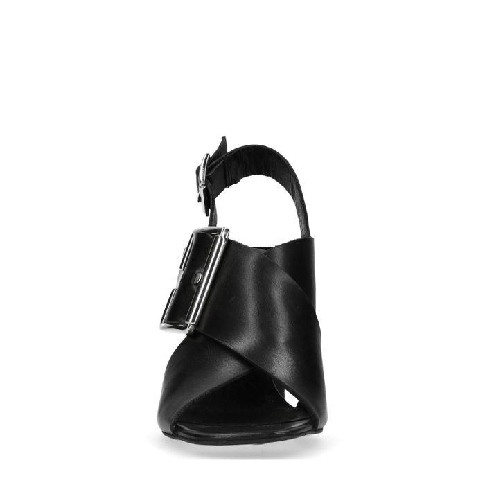 Sandales à talon en cuir avec boucle - noir