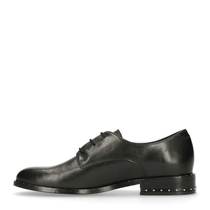 Chaussures à lacets en cuir avec clous - noir