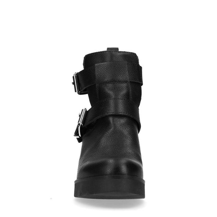 Bottines motardes en cuir avec découpe - noir