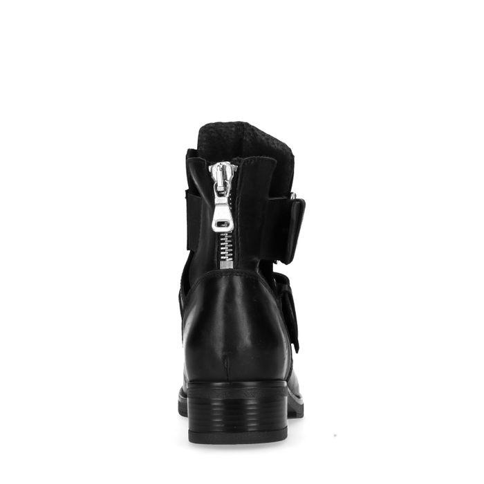 Bottines motardes en cuir avec découpe et boucles - noir