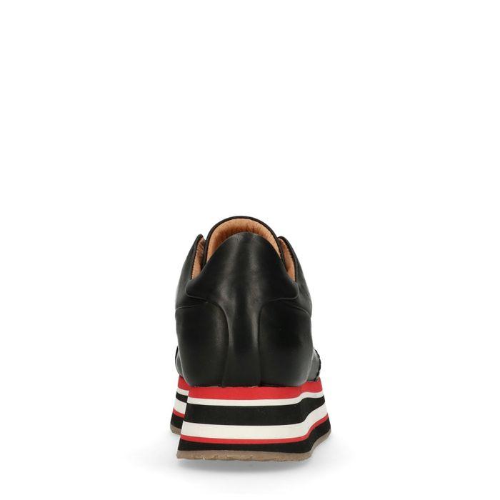Baskets en cuir à plateforme avec semelle rayée - noir