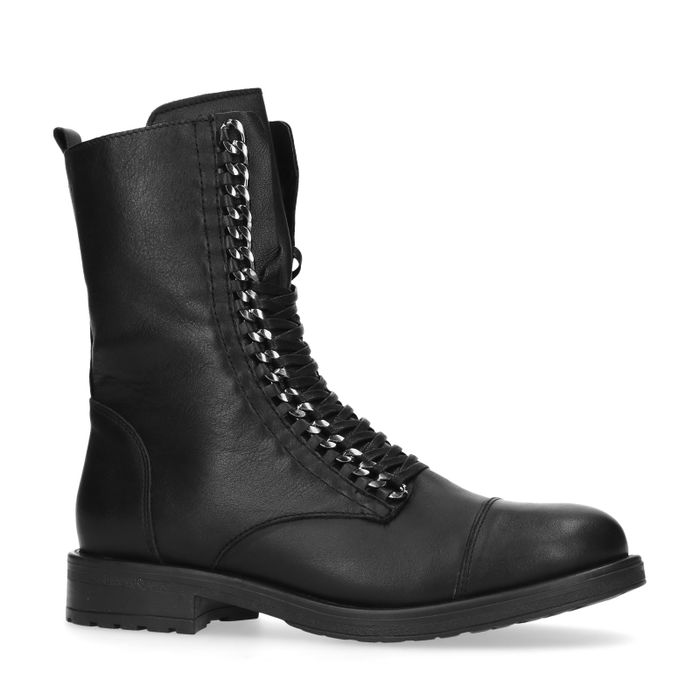 Bottines à lacets en cuir - noir