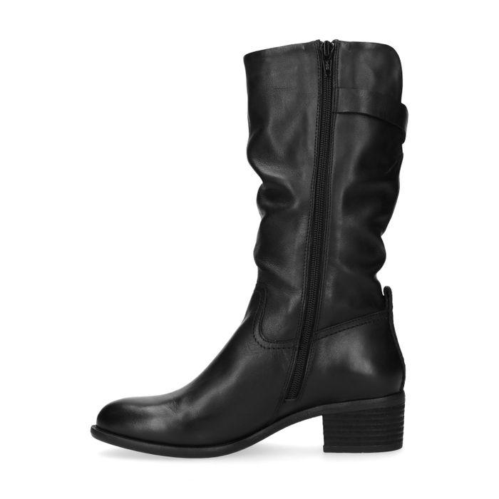 Bottes hautes en cuir effet plissé - noir