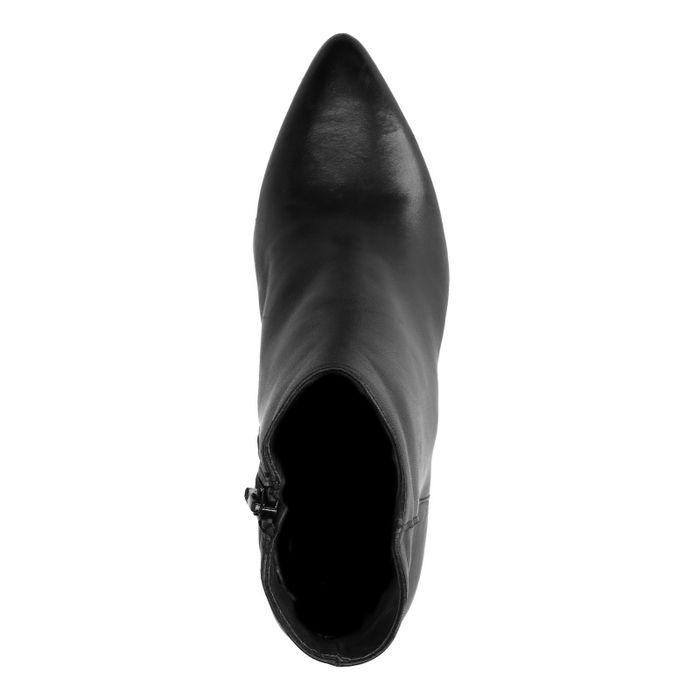 Bottines cuir à talon métallisées - noir