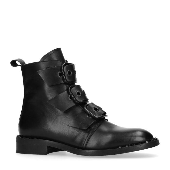 Bottines motardes en cuir avec clous et boucles - noir