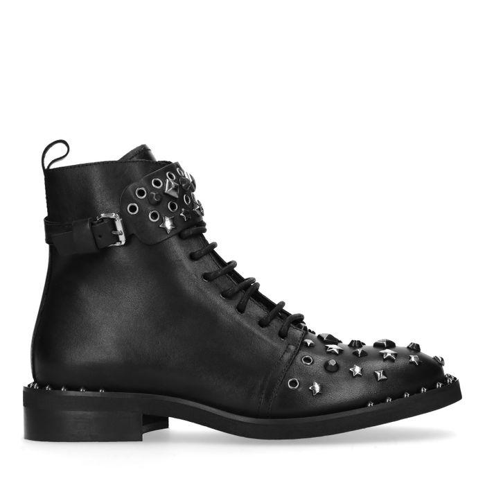 Bottines motardes en cuir avec clous - noir