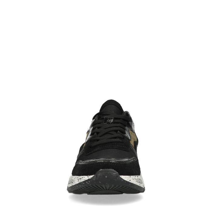 Baskets en cuir basses avec détails - noir