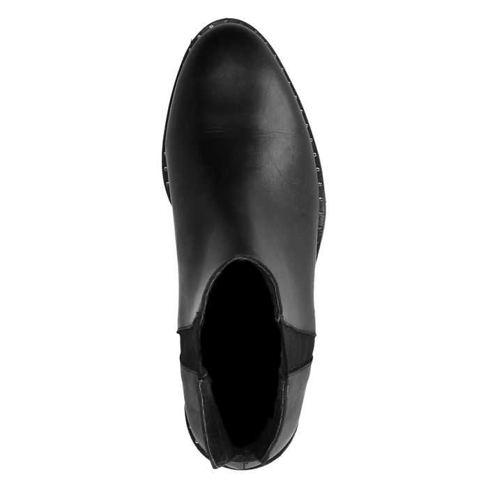 Chelsea boots en cuir avec petits clous - noir