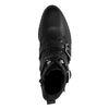 Bottines motardes avec lacets et boucles - noir